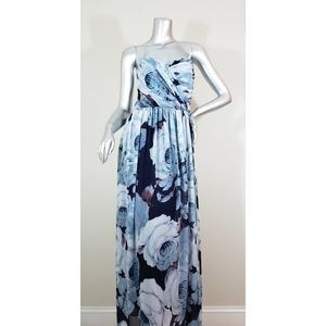 Asos Blue Floral Maxi Strapless Dress